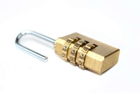 combination: combination padlock isolated on white background Stock Photo