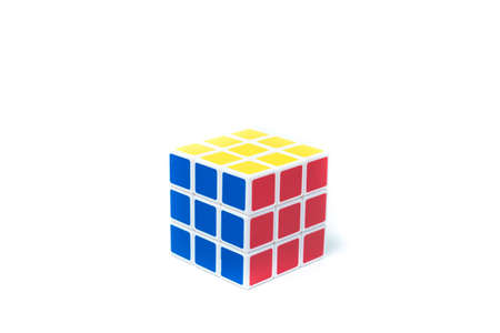 invented: chiangmai, thailand - march 14, 2015: Rubiks Cube on a white background. Rubiks Cube invented by a Hungarian architect Erno Rubik in 1974. Editorial