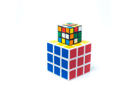 rubik: chiangmai, thailand - march 14, 2015: Rubiks Cube on a white background. Rubiks Cube invented by a Hungarian architect Erno Rubik in 1974. Editorial