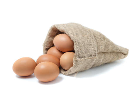 bagging: Closeup of Chicken eggs in the sackcloth