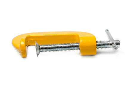 c clamp: yellow c clamp isolated on white background