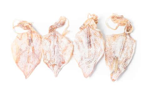 dehydration squid on white background