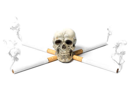 cigarette with death skull on white background