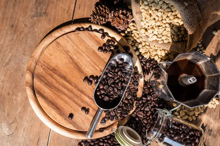 still life fresh coffee set on wood table with morning light