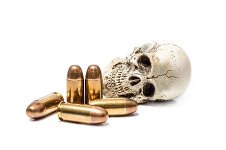 death skull behind bullets on white background Stock fotó