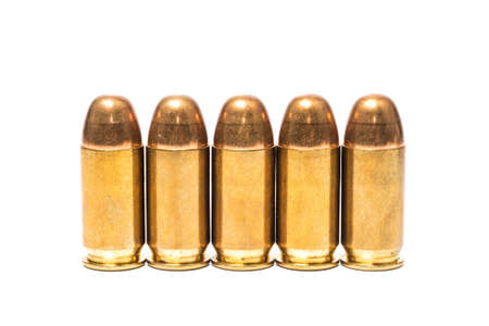 9mm ammo: bullets isolated on white background Stock Photo