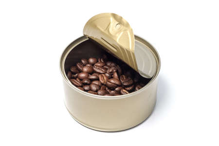 coffee bean in can on white background