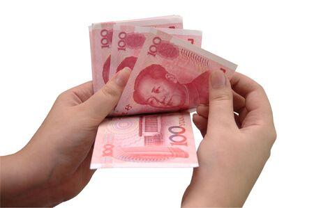 yuan: Count chinese yuan in hand Stock Photo