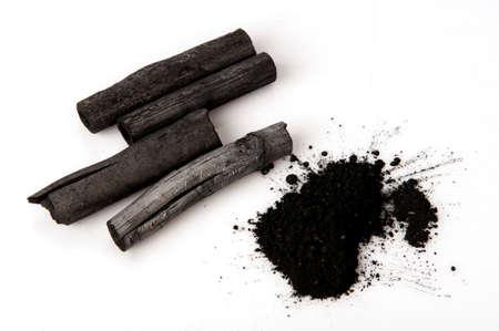 Bamboe houtskool verbrand en poeder. Stockfoto
