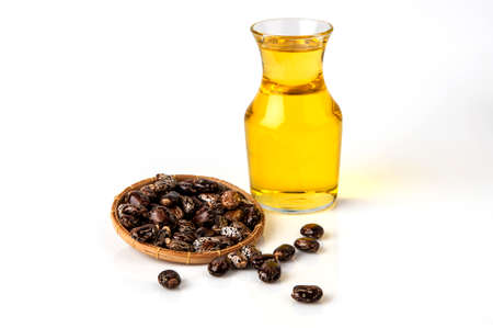 Castor oil with castor fruits, seeds and leaf.
