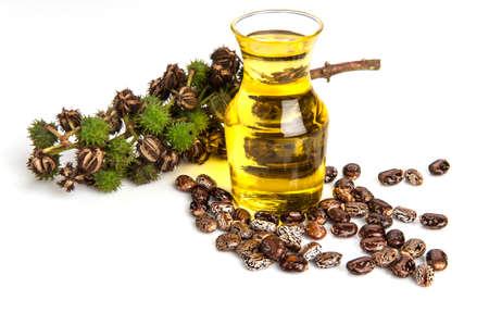 Castor oil with castor fruits, seeds and leaf.