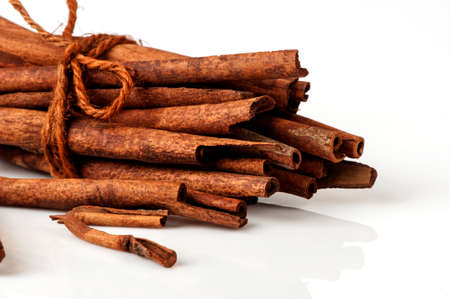 Cinnamon sticks isolated on white.