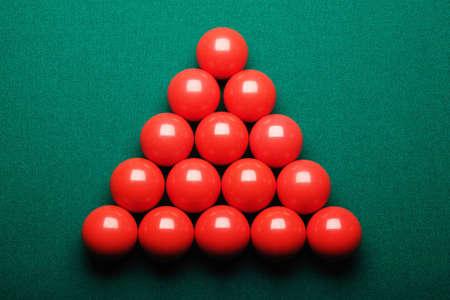 fifteen: fifteen red snooker balls