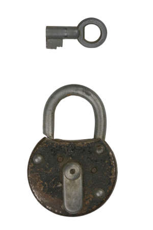 a old padlock with a key Stock Photo