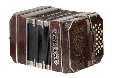 bandoneon: a old bandoneon isolated on white
