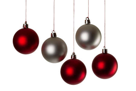 quintet: five christmas balls in silver and red Stock Photo