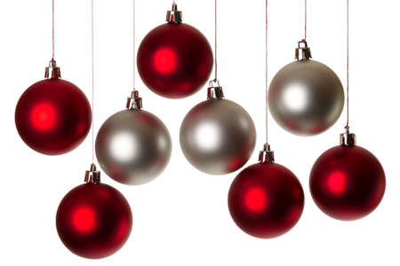 balls decorated: eight christmas balls in silver and red