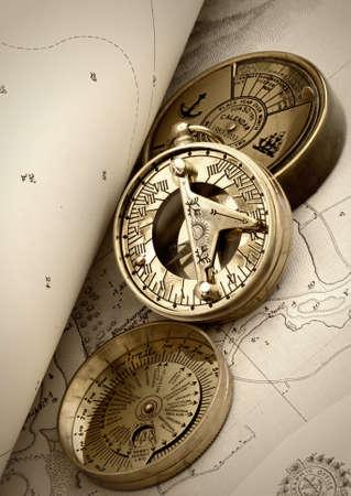 Compas on old navigation chart photo