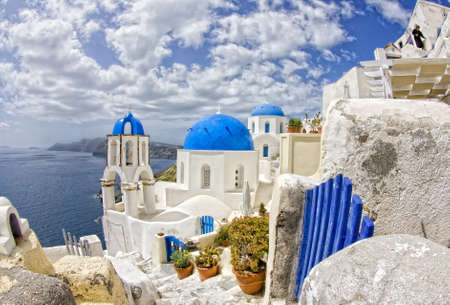 Oia view with the blue domes Santorini island,Greece  photo