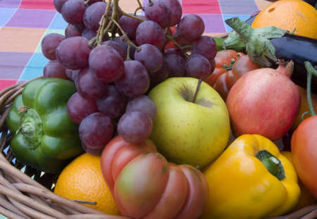 Basket of fruits and vegetables  photo
