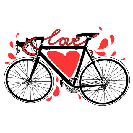 heart sketch: Vector bike illustration with love, heart and drops