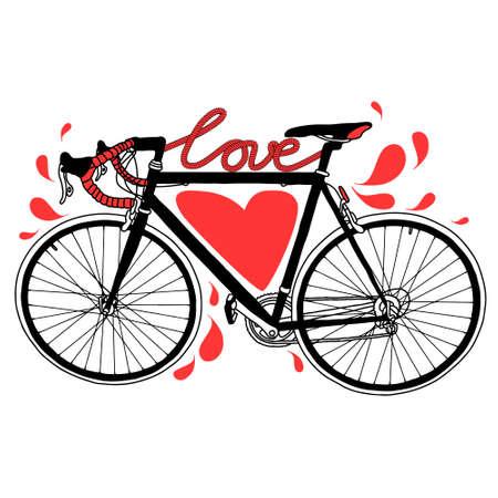Vector ilustración de la bici con el amor, el corazón y las gotas