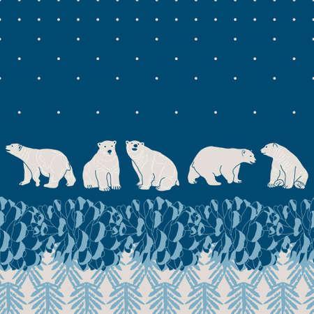Vector pine forest card with polar bears Illustration