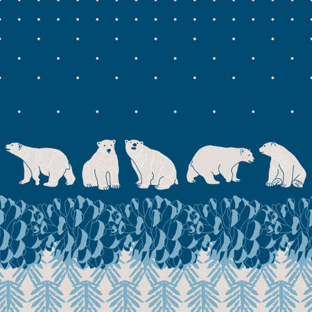 polar: Vector pine forest card with polar bears Illustration