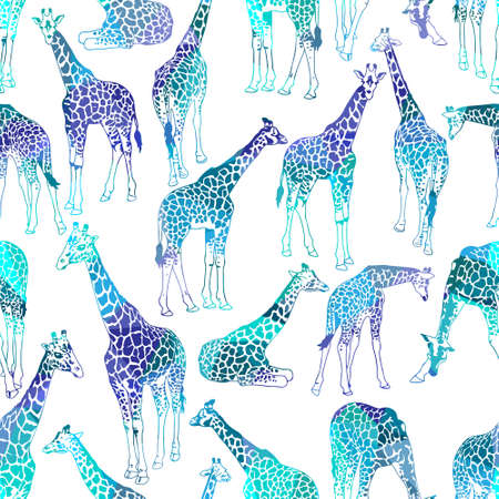 Vector abstract seamless pattern with giraffes  イラスト・ベクター素材