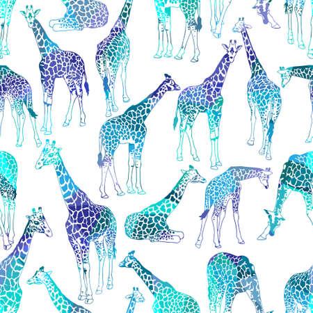 jirafa: Vector patr�n abstracto sin fisuras con las jirafas