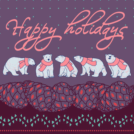 pine cones: Happy holidays card poster banner with polar bears, pine cones and abstract ornament Illustration