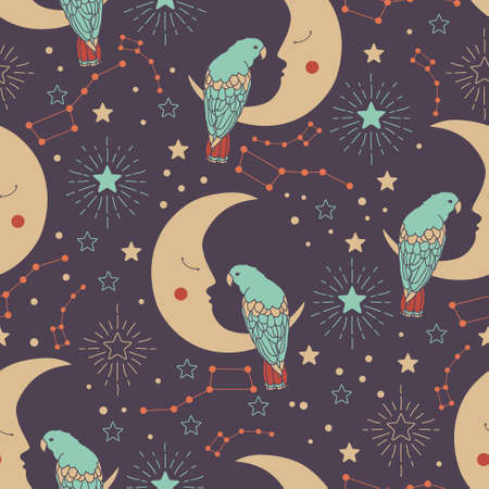 moons: Vector seamless pattern with crescent moons, parrots, ursa major and stars Illustration