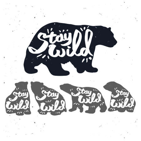 western script: Vintage bear with Stay wild quote