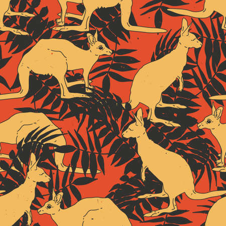 Vector seamless pattern with kangaroo and palm leaves