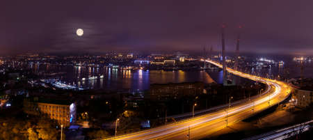 russkiy: Night vladivostok bridge panorama view of the city