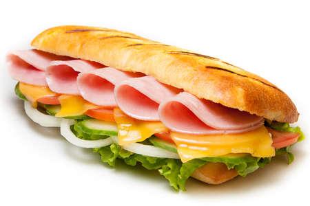 sandwiche: Tasty ham pannini sandwiche on isolated background Stock Photo