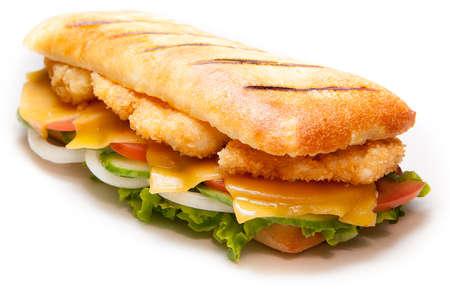 sandwiche: Tasty chicken pannini sandwiche on isolated background