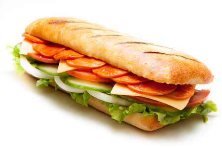 sandwiche: Tasty salami pannini sandwiche on isolated background
