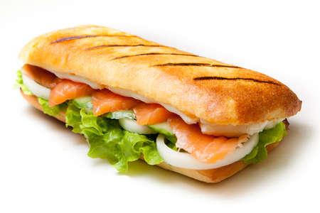 sandwiche: Tasty Salmon pannini sandwiche on isolated background