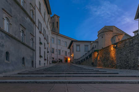 Ancient staircase in the central square of Spoleto