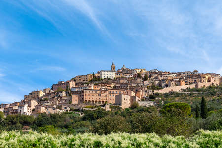 Beautiful panoramic view of the medieval hill town Trevi. Trevi, Perugia, Umbria, Italy