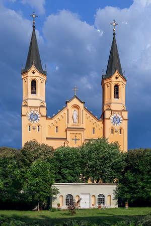 View of Parish Church Assumption of St. Mary (Chiesa Di Santa Maria Assunta) Bruneck (Brunico) Trentino-Alto Adige, Italy