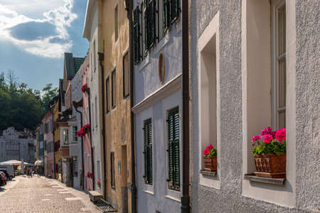 View of the central street of the picturesque Alpine town Bruneck (Brunico) Trentino-Alto Adige, Italy