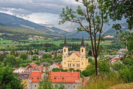 View of Parish church Assumption of St. Mary in Bruneck in the historic city of Bruneck (Brunico) Trentino-Alto Adige, Italy Stock Photo