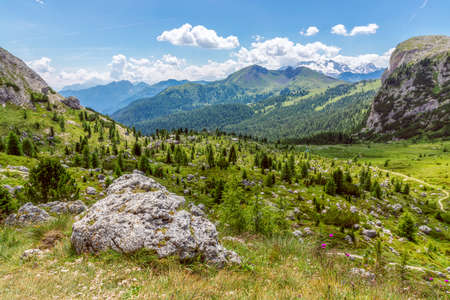 Beautiful landscape of the Dolomites mountain in summer at The Valparola Pass, Belluno Province, Italy Stok Fotoğraf
