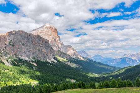 Beautiful view of the Dolomites Mountain at The Valparola Pass, Belluno Province, Italian Alps Stok Fotoğraf