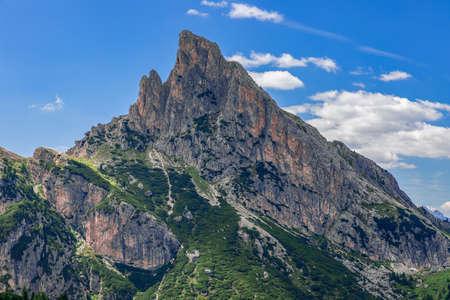 Beautiful view of the Dolomites Mountain peak at The Valparola Pass, Belluno Province, Italian Alps