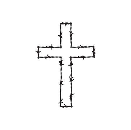 Vector illustration of the barbwire cross Vector Illustration