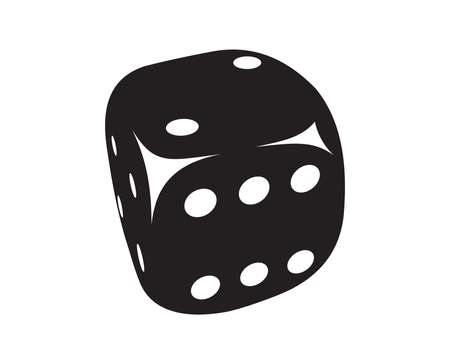 Vector illustration of the black dice with white dots