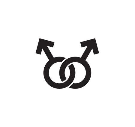 Vector illustration of the gender symbols as equality gay pride concept Illustration